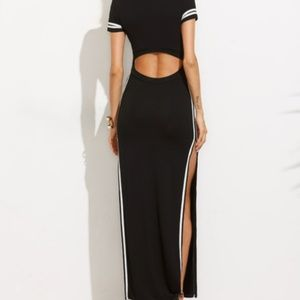 Dresses - Striped trim high split cut out back long dress